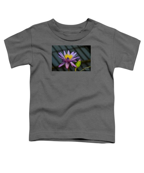 Violet And Yellow Water Lily Flower With Unopened Bud Toddler T-Shirt