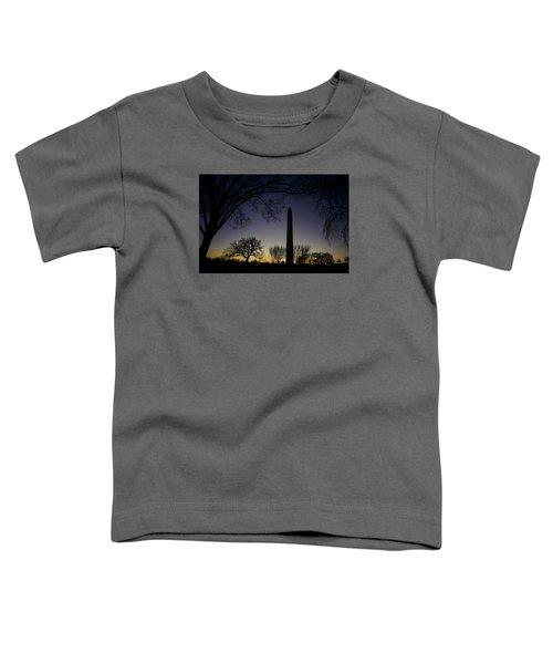 Washington Monument At Twilight With Moon Toddler T-Shirt