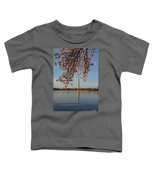 Washington Monument With Cherry Blossoms Toddler T-Shirt by Megan Cohen