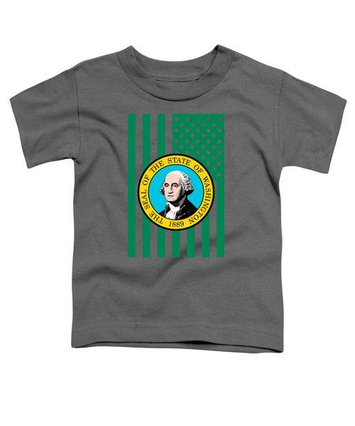 Washington State Flag Graphic Usa Styling Toddler T-Shirt by Garaga Designs