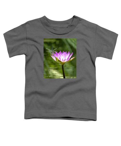 Toddler T-Shirt featuring the photograph Water Lily With Dragon Fly by Bill Barber