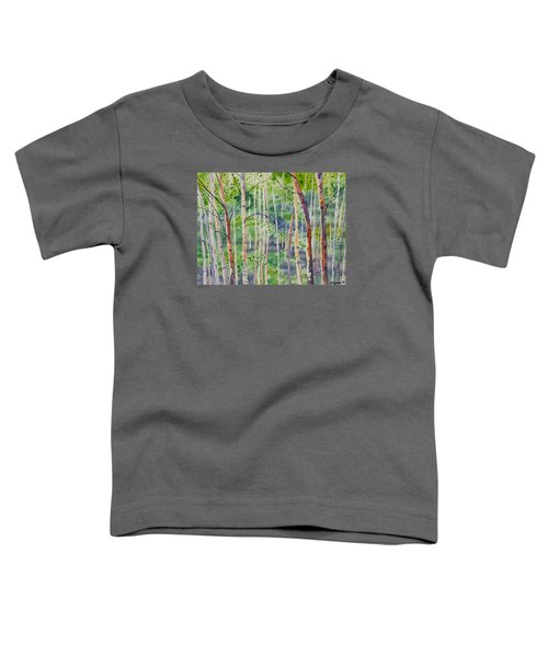 Watercolor - Magical Aspen Forest After A Spring Rain Toddler T-Shirt