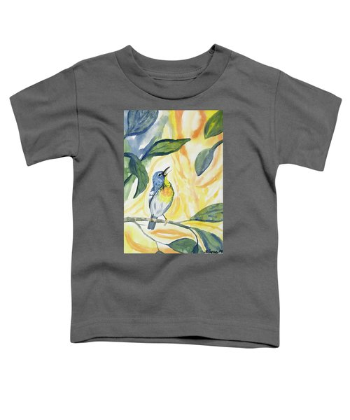 Watercolor - Northern Parula In Song Toddler T-Shirt