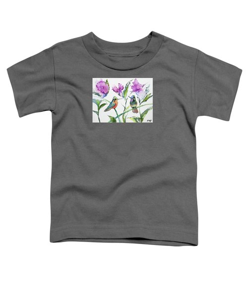 Watercolor - Purple-throated Mountain Gems And Flowers Toddler T-Shirt