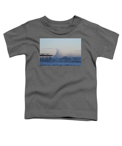 Wave Towers Over Oc Fishing Pier Toddler T-Shirt