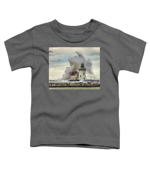 Waves Over The Lighthouse In Cleveland. Toddler T-Shirt