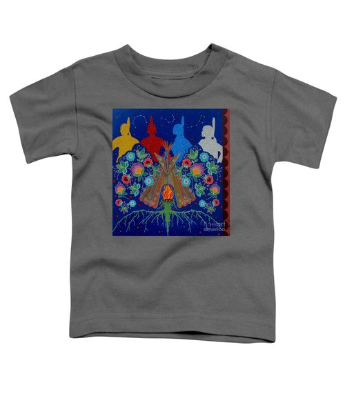 Toddler T-Shirt featuring the painting We Are One Bond by Chholing Taha