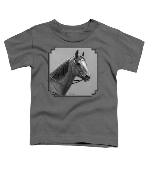 Western Quarter Horse Black And White Toddler T-Shirt by Crista Forest