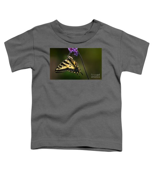 Western Tiger Swallowtail Butterfly On Purble Verbena Toddler T-Shirt