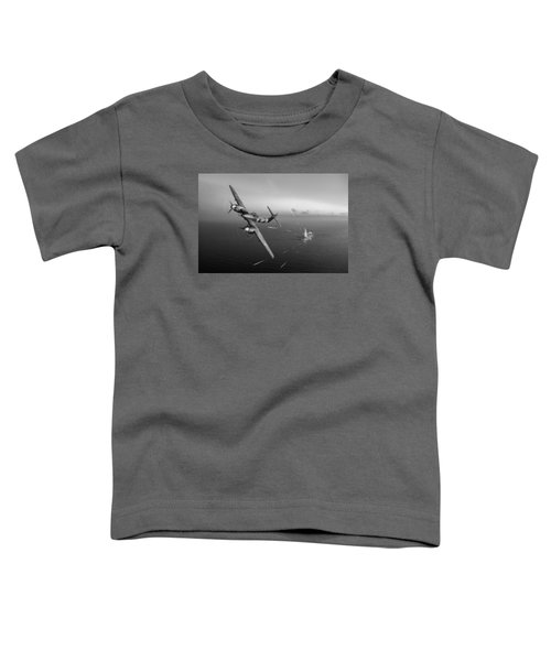 Toddler T-Shirt featuring the photograph Westland Whirlwind Attacking E-boats Black And White Version by Gary Eason
