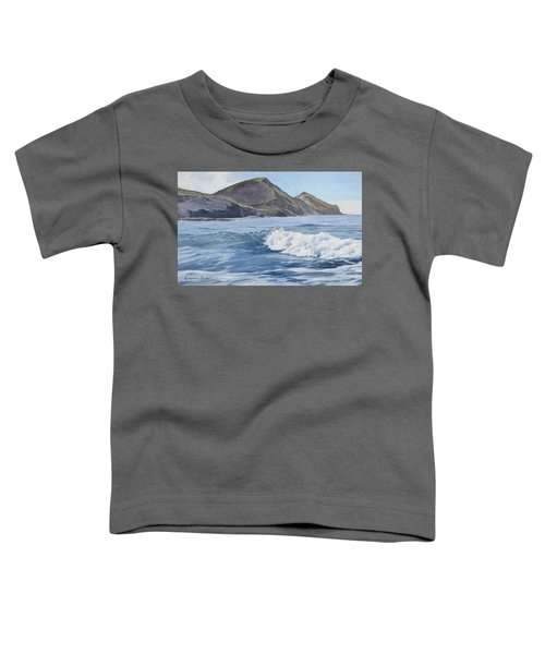 Toddler T-Shirt featuring the painting White Wave At Crackington  by Lawrence Dyer