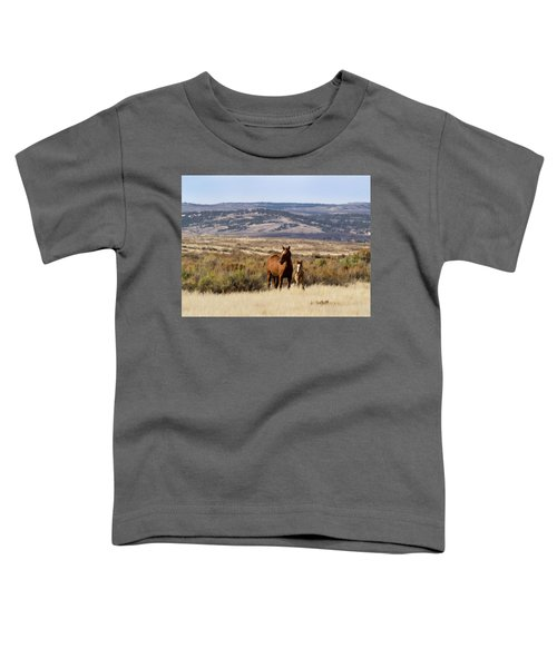 Wild Mare With Young Foal In Sand Wash Basin Toddler T-Shirt