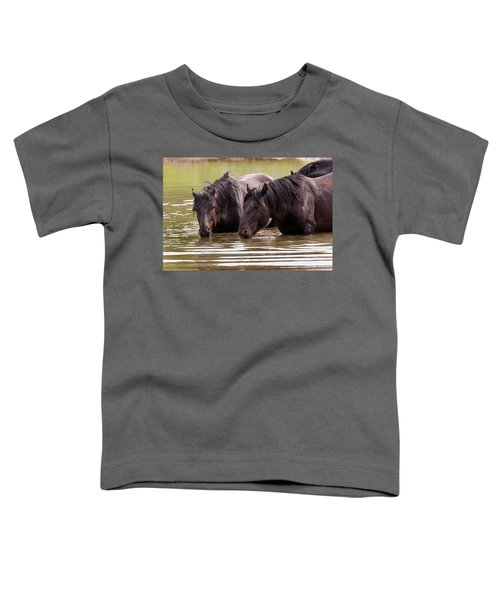 Wild Stallions At The Water Hole Toddler T-Shirt