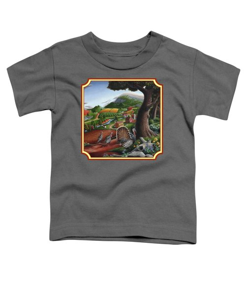 Wild Turkeys In The Hills Country Landscape - Square Format Toddler T-Shirt by Walt Curlee