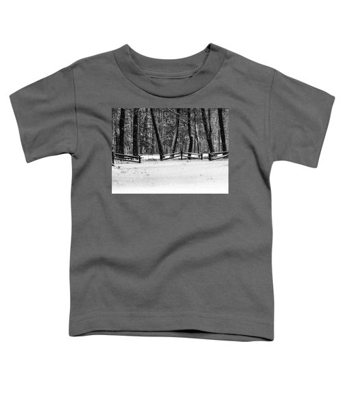 Winter Fences In Black And White  Toddler T-Shirt