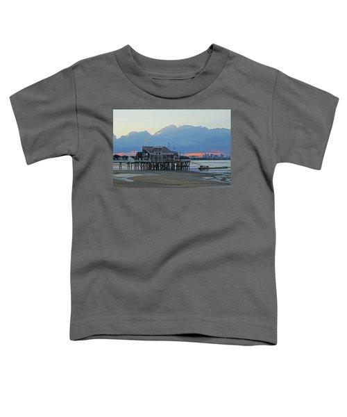 Wollaston Beach Quincy Ma Sunset Boston Skyline Quincy Ma Toddler T-Shirt