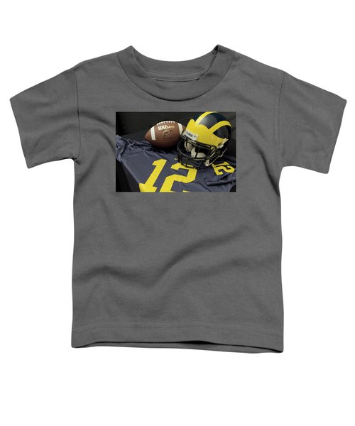 Wolverine Helmet With Football And Jersey Toddler T-Shirt