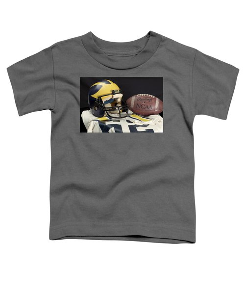 Wolverine Helmet With Jersey And Football Toddler T-Shirt