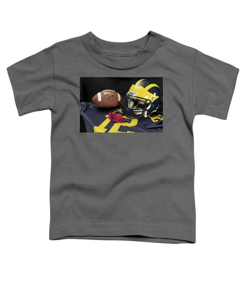 Wolverine Helmet With Roses, Jersey, And Football Toddler T-Shirt