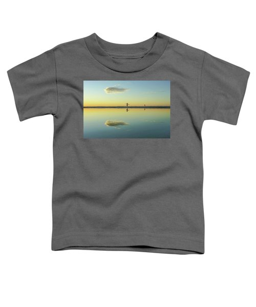 Woman And Cloud Reflected On Beach Lagoon At Sunset Toddler T-Shirt