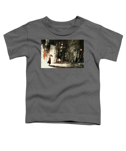 Toddler T-Shirt featuring the painting Woman In The Destroyed City by Tithi Luadthong
