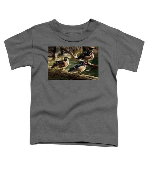 Wood Ducks Posing On A Log Toddler T-Shirt