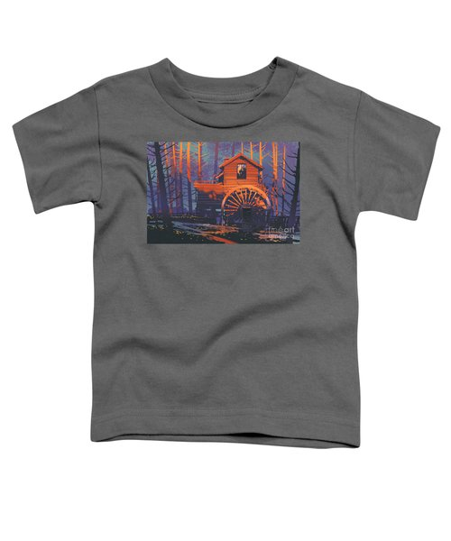 Toddler T-Shirt featuring the painting Wooden House by Tithi Luadthong