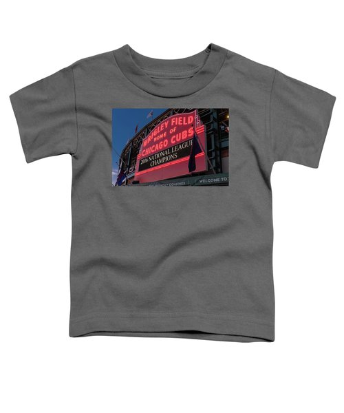 Wrigley Field Marquee Cubs National League Champs 2016 Toddler T-Shirt by Steve Gadomski