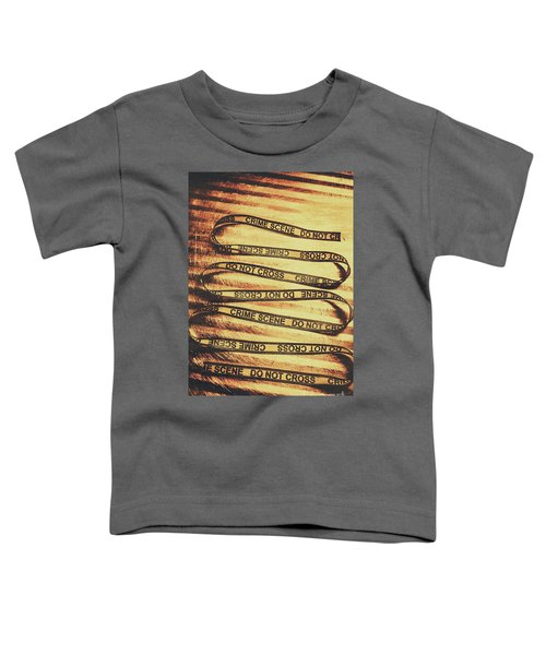 Yellow Crime Scene Ribbon On Metal Background Toddler T-Shirt