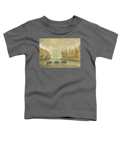 Yellowstone And Bisons Toddler T-Shirt by Juan Bosco