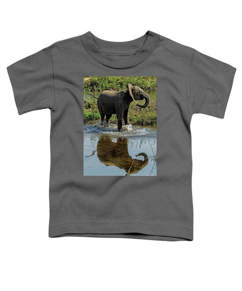 Young Elephant Playing In A Puddle Toddler T-Shirt