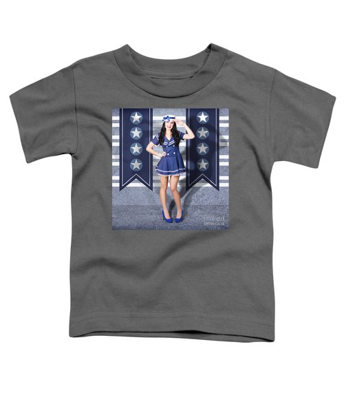 Young Us Marine Corps Pin-up Girl. Sailor Style Toddler T-Shirt