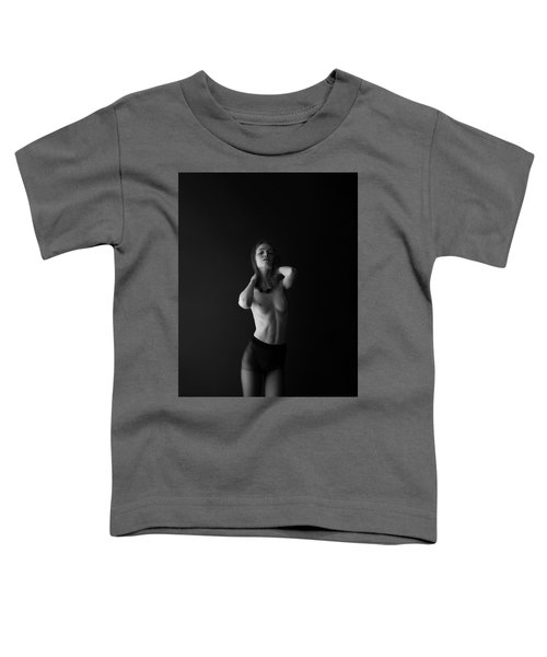 Young Woman In Pantyhose In Front Of Black Wall Toddler T-Shirt