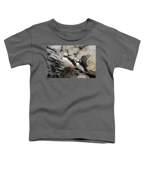Horned Puffin Pair 2 Toddler T-Shirt