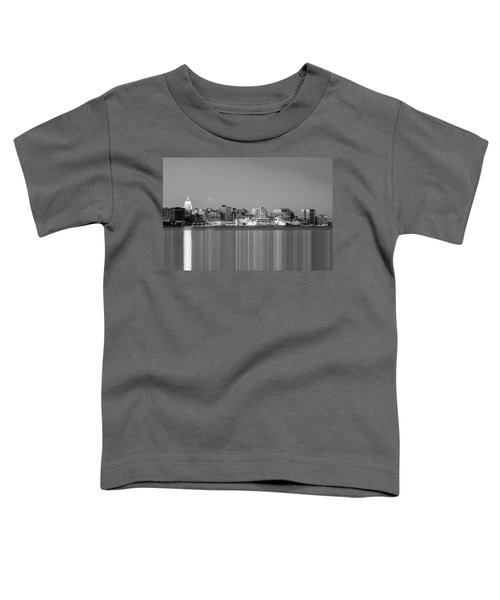 Madison Skyline In Black And White Toddler T-Shirt
