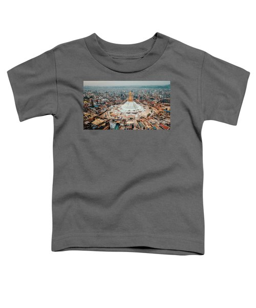 Stupa Temple Bodhnath Kathmandu, Nepal From Air October 12 2018 Toddler T-Shirt