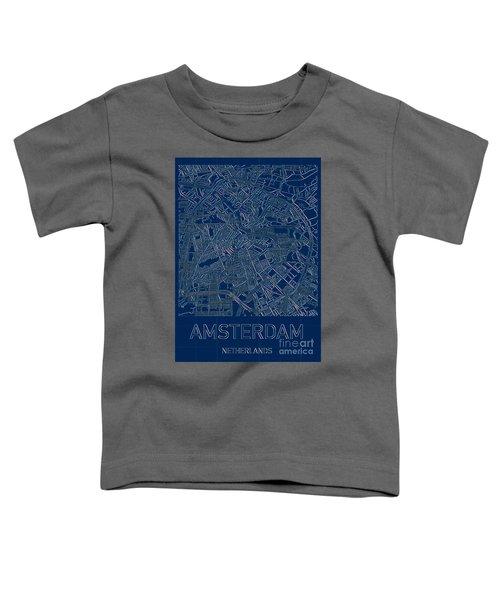 Amsterdam Blueprint City Map Toddler T-Shirt