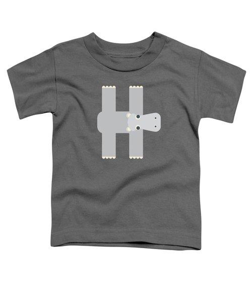 Animal Alphabet - Letter H - Hippo Monogram Toddler T-Shirt