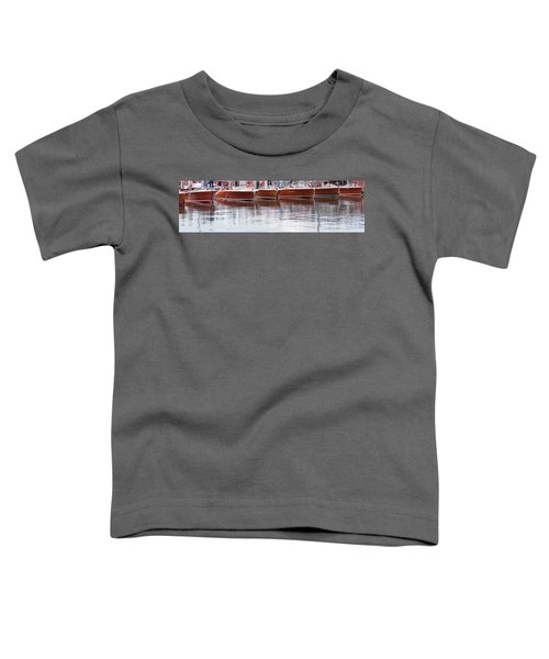 Antique Classic Wooden Boats In A Row Panorama 81112p Toddler T-Shirt