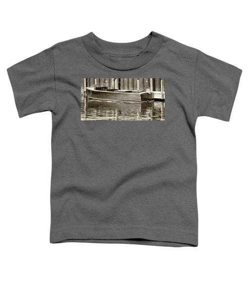 Antique Wooden Boat By Dock Sepia Tone 1302tn Toddler T-Shirt