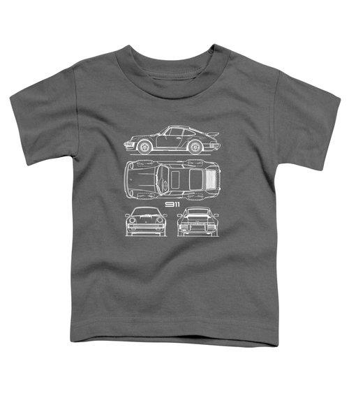 Porsche 911 Turbo Blueprint - Gray Toddler T-Shirt