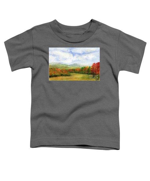 Autumn Day Watercolor Vermont Landscape Toddler T-Shirt