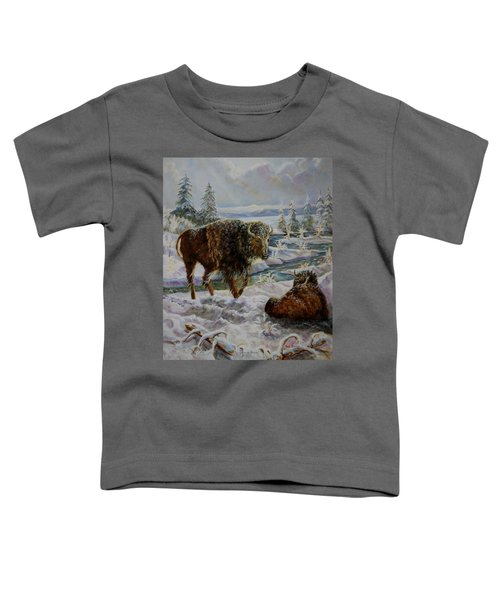 Bison In Yellowstone In The Winter Toddler T-Shirt