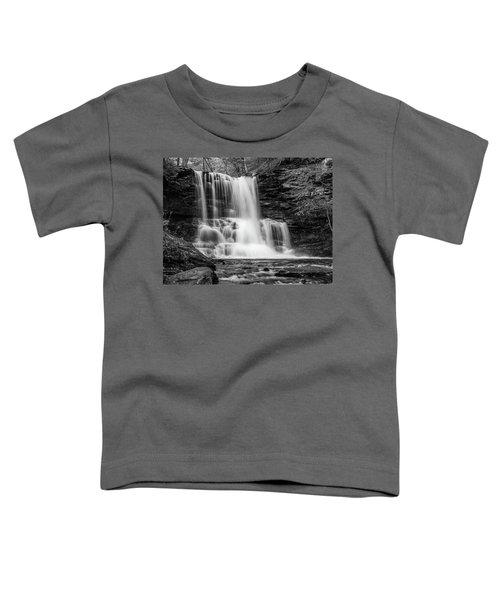 Black And White Photo Of Sheldon Reynolds Waterfalls Toddler T-Shirt