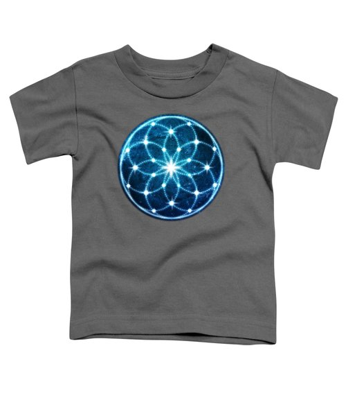 Blue Cosmic Geometric Flower Mandala Toddler T-Shirt
