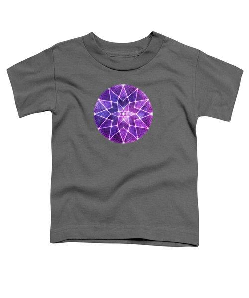 Cosmic Purple Geometric Seed Of Life Crystal Lotus Star Mandala Toddler T-Shirt