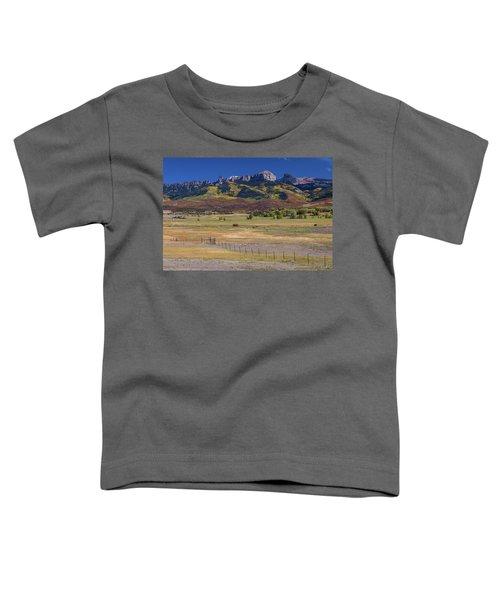 Toddler T-Shirt featuring the photograph Courthouse Mountains And Chimney Rock Peak by James BO Insogna