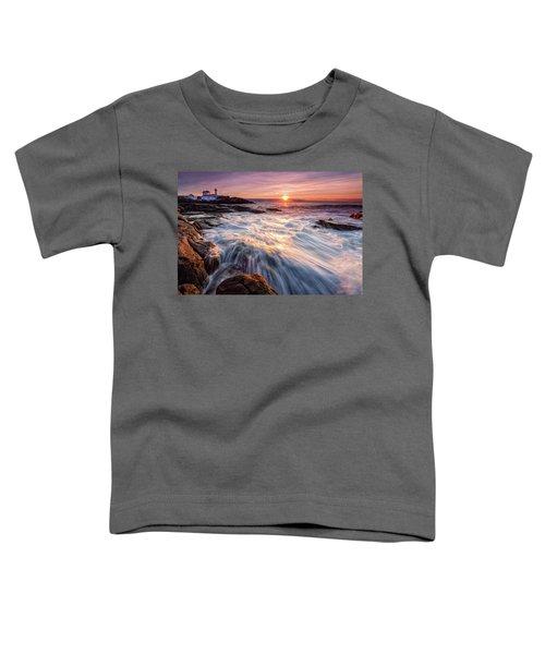 Crashing Waves At Sunrise, Nubble Light.  Toddler T-Shirt