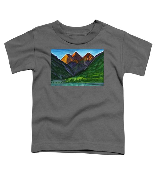 Evening Illumination Of Snowy Mountain Peaks With Waterfalls And A Mountain River Toddler T-Shirt