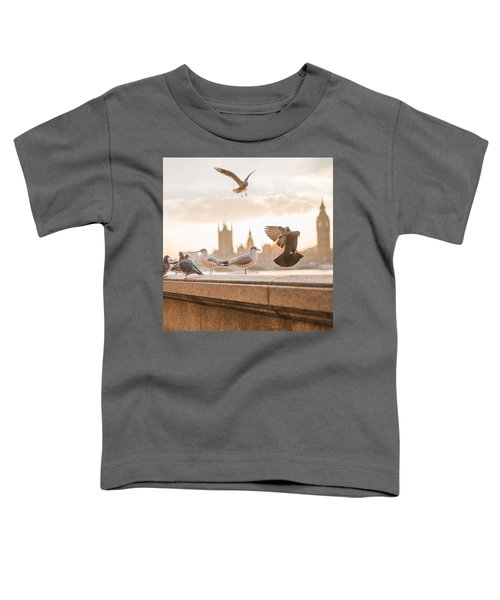 Doves And Seagulls Over The Thames In London Toddler T-Shirt